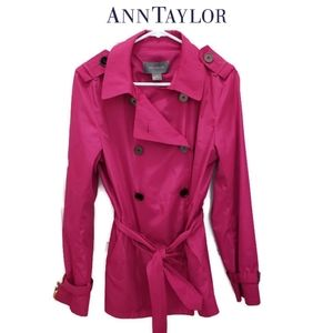 Ann Taylor Bright Pink Trench Coat